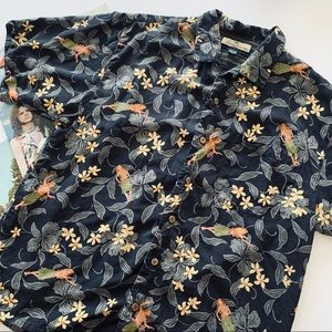 Tommy Bahama | Black Floral & Hula Girl Button Up